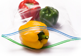 food in plastic storage bags