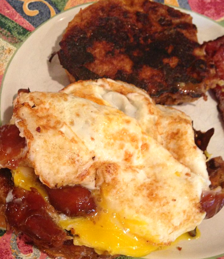 French toast, dates and eggs